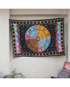 Black Popular Astrology Zodiac Indian Wall Tapestry Twin Size
