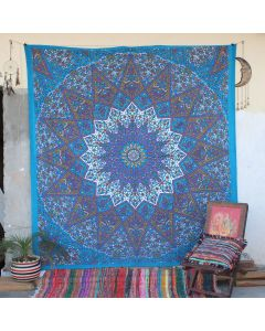 Turquoise Star Elephant Cotton Wall Hanging Tapestry Queen Size