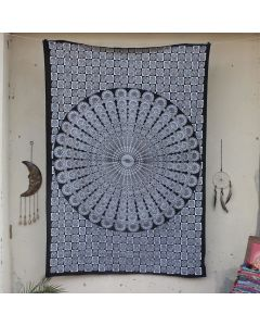 Black Wheel Mandala Indian Wall Tapestry Twin Size