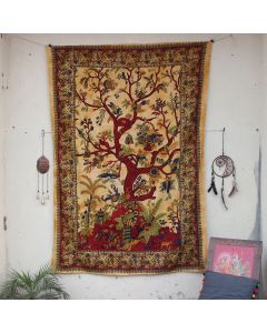 Yellow Entity Tree of life Tapestry Wall Hanging Twin Size