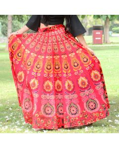 Agni Red Indian Mandala Skirt