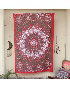 Red Star Elephant Tapestry Wall Hanging Twin Size