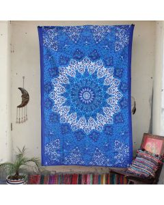 Blue Star Elephant Cotton Wall Hanging Tapestry Twin Size