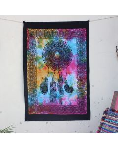 Turquoise Celtic Psychedelic Star Moon Boho Wall Hanging Poster 30 in x 40 in