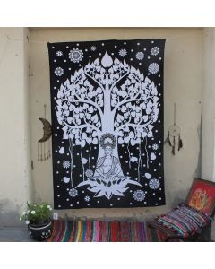 Black Buddha Tree of life Tapestry Wall Hanging Twin Size