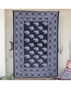Black Scattered Elephant Indian Wall Tapestry Twin Size