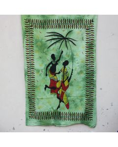 Green Tribal African Couple Bohemian Wall Poster 30 in x 40 in