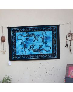 Turquoise Playing Lizards Hippie Wall Poster 30 in x 40 in