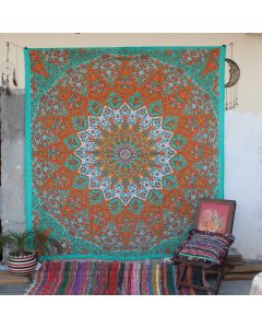 Green Star Elephant Boho Wall Hanging Tapestry Queen Size