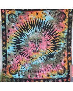 Turquoise Good Morning Sun Moon Boho Wall Hanging Tapestry Queen Size