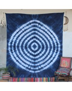 Blue Shibori Rhombus Tie Dye Indian Wall Tapestry Queen Size