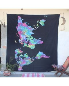 Black Cosmos World Map Boho Wall Hanging Tapestry Queen Size