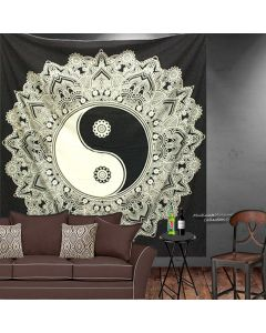 Black and White Yin Yang Large Mandala  tapestry