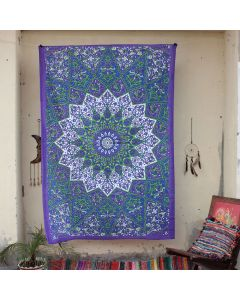 Purple Star Elephant Boho Wall Hanging Tapestry Twin Size