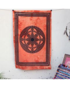 Orange Celtic Mandala Hippie Wall Poster 30 in x 40 in