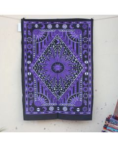 Purple Burning Sun Moon Cotton Wall Hanging Poster 30 in x 40 in