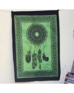 Green Celtic Psychedelic Star Moon Tapestry Wall Hanging Poster 30 in x 40 in