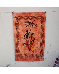 Orange Tribal African Couple Bohemian Wall Poster 30 in x 40 in