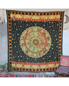 Black Popular Astrology Zodiac Wall Hanging Tapestry Queen Size