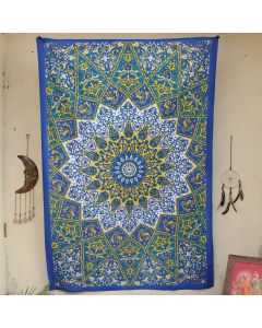 Blue Star Elephant Hippie Wall Tapestry Twin Size
