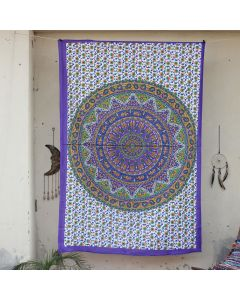 Purple Lehariya Elephant Wall Hanging Tapestry Twin Size