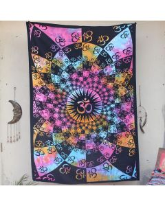 Pink Lotus Aum Bohemian Wall Tapestry Twin Size