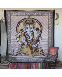 White Batik Ganpati Hippie Wall Tapestry Queen Size
