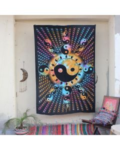Turquoise Psychedelic Yin Yang Hippie Wall Tapestry Twin Size