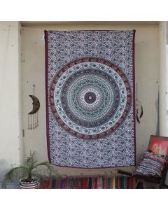 Maroon Folk Elephant Peacock Mandala Indian Wall Tapestry Twin Size