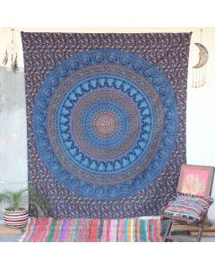 Blue Parade Elephant Peacock Hippie Wall Tapestry Queen Size