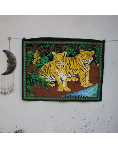 Yellow Friendship Two Tiger Indian Wall Poster 30 in x 40 in