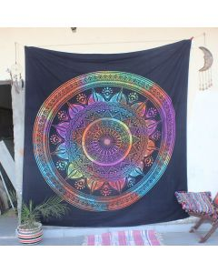 Black Diya Ombre Flower Lotus Indian Wall Tapestry Queen Size
