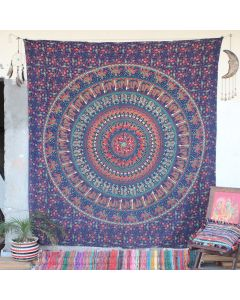 Blue Rajasthan Kingdom Mandala Boho Wall Hanging Tapestry Queen Size