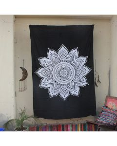 Black Efflorescence Flower Mandala Tapestry Wall Hanging Twin Size