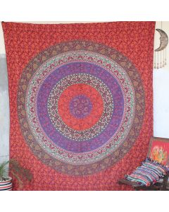 Maroon Leisure Mandala Bohemian Wall Tapestry Queen Size