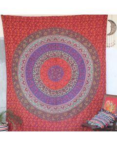 Maroon Leisure Mandala Bohemian Wall Tapestry Queen Size