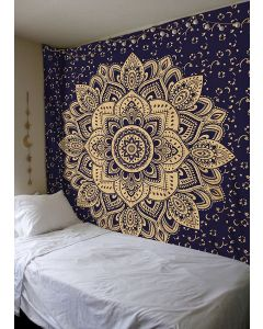Gold and Blue Lotus Large Tapestry
