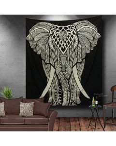 Black And White Big Elephant Large Tapestry