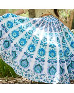 Sea White Indian Mandala Skirt