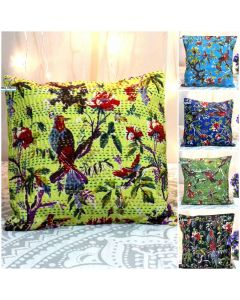 Bird Kantha Embroidered Decorative Pillow