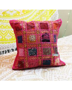 Pink Embroidered Ethnic Indian Cushion cover