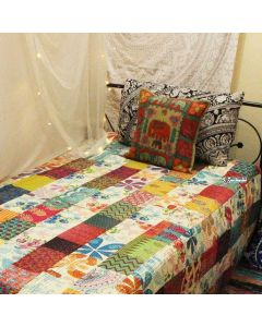 Off White Patchwork Kantha Quilt