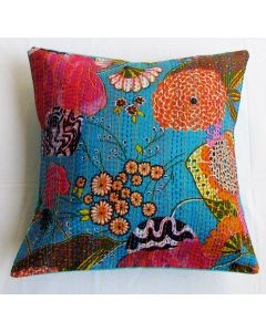 Turquoise Floral Kantha Cushion Cover