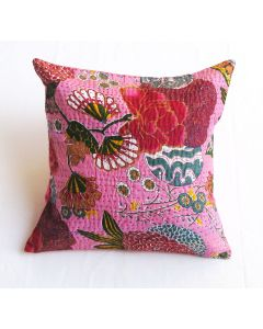 Baby Pink Floral Kantha Cushion Cover