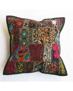 Black Vintage Collage Cushion Cover 16 x 16 inch