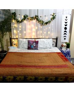 Floral blessings Indian old sari Quilt