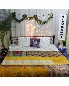 Indiie Florals Old Recycled Sari Quilt