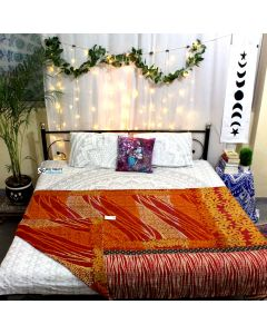 Waves and Florals Indian Sari Quilt