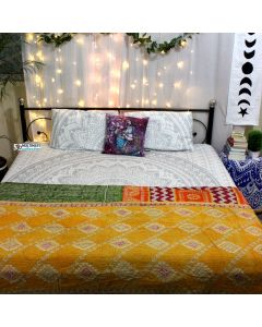 Gepmetric patterned Indian Sari Throw