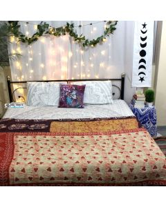 Leaves and Floral kantha Quilt
